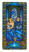 Four of Cups Tarot card in Art Nouveau deck