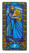 Nine of Cups Tarot card in Art Nouveau deck