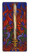 Ace of Swords Tarot card in Art Nouveau deck