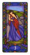 Three of Swords Tarot card in Art Nouveau Tarot deck