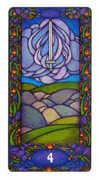 Four of Swords Tarot card in Art Nouveau deck