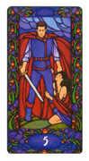 Five of Swords Tarot card in Art Nouveau Tarot deck