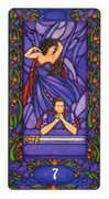 Seven of Swords Tarot card in Art Nouveau deck