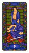 Nine of Swords Tarot card in Art Nouveau deck