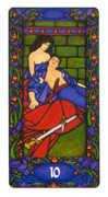 Ten of Swords Tarot card in Art Nouveau Tarot deck