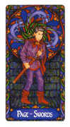 Page of Swords Tarot card in Art Nouveau deck