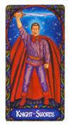 Knight of Swords Tarot card in Art Nouveau deck