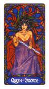 Queen of Swords Tarot card in Art Nouveau deck