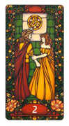 Two of Coins Tarot card in Art Nouveau deck