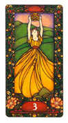 Three of Coins Tarot card in Art Nouveau deck