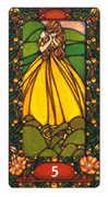 Five of Coins Tarot card in Art Nouveau deck