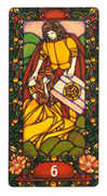 Six of Coins Tarot card in Art Nouveau Tarot deck