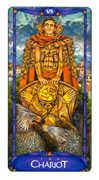 The Chariot Tarot card in Art Nouveau deck