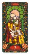 Seven of Coins Tarot card in Art Nouveau deck