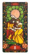 Eight of Coins Tarot card in Art Nouveau deck
