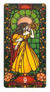 Nine of Coins Tarot card in Art Nouveau deck