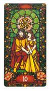 Ten of Coins Tarot card in Art Nouveau deck