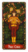 Page of Coins Tarot card in Art Nouveau deck