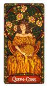 Queen of Coins Tarot card in Art Nouveau deck