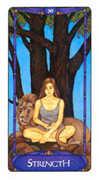 Strength Tarot card in Art Nouveau Tarot deck