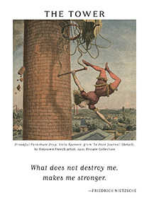 The Falling Tower Tarot Card - Art of Life Tarot Deck