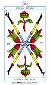 Two of Wands Tarot Card - Cagliostro Tarot Deck