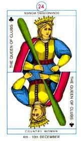 Queen of Clubs Tarot Card - Cagliostro Tarot Deck