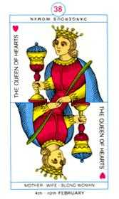 Queen of Hearts Tarot Card - Cagliostro Tarot Deck