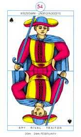 Slave of Swords Tarot Card - Cagliostro Tarot Deck