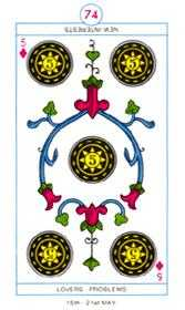 Five of Diamonds Tarot Card - Cagliostro Tarot Deck