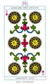 Six of Pentacles Tarot Card - Cagliostro Tarot Deck