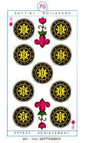 Nine of Pentacles Tarot Card - Cagliostro Tarot Deck