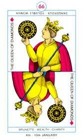 Queen of Coins Tarot Card - Cagliostro Tarot Deck