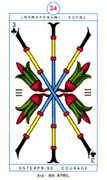 Three of Clubs Tarot card in Cagliostro Tarot deck