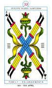 Four of Clubs Tarot card in Cagliostro Tarot deck