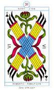 Six of Clubs Tarot card in Cagliostro Tarot deck