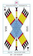 Nine of Clubs Tarot card in Cagliostro Tarot deck