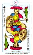 Knight of Clubs Tarot card in Cagliostro Tarot deck