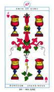 Four of Hearts Tarot card in Cagliostro Tarot deck