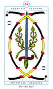 Three of Spades Tarot card in Cagliostro Tarot deck