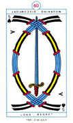 Five of Spades Tarot card in Cagliostro Tarot deck