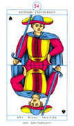Page of Spades Tarot card in Cagliostro Tarot deck