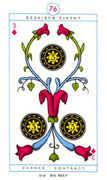 Three of Diamonds Tarot card in Cagliostro Tarot deck