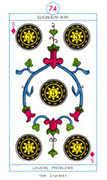 Five of Diamonds Tarot card in Cagliostro Tarot deck