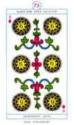 Six of Diamonds Tarot card in Cagliostro Tarot deck