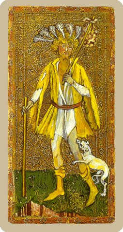 The Fool Tarot Card - Cary-Yale Visconti Tarocchi Tarot Deck