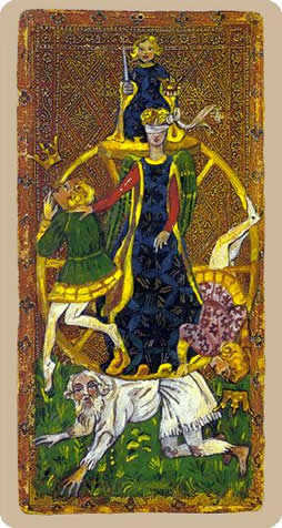 The Wheel of Fortune Tarot Card - Cary-Yale Visconti Tarocchi Tarot Deck