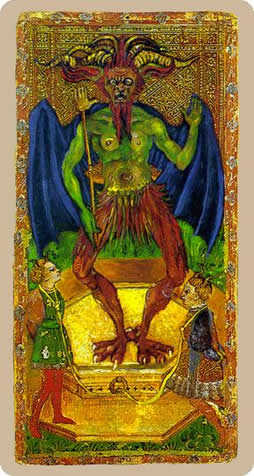 Temptation Tarot Card - Cary-Yale Visconti Tarocchi Tarot Deck