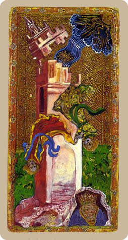 The Falling Tower Tarot Card - Cary-Yale Visconti Tarocchi Tarot Deck