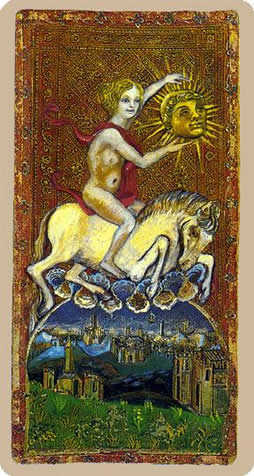 The Sun Tarot Card - Cary-Yale Visconti Tarocchi Tarot Deck